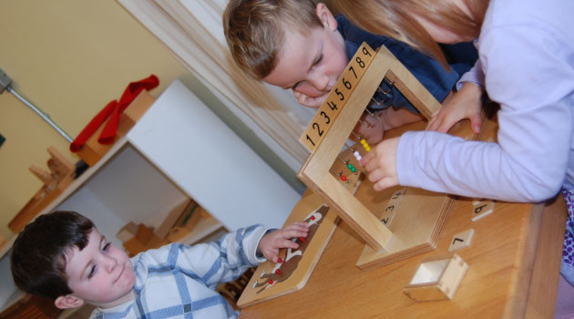 Children doing a table activity